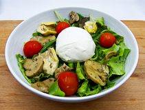 Fresh summer salad with tomatoes, mushrooms and artichokes in oil, and mozzarella stock photos