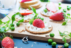 Fresh Summer Snack Sandwiches Cottage Cheese Strawberry Royalty Free Stock Photography