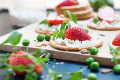 Fresh Summer Snack Sandwiches Cottage Cheese Strawberry Stock Photos