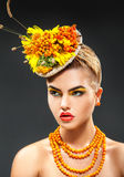 Fresh summer style photo of fashion girl with rowanberry accesso Stock Photography