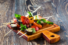 Fresh summer vegetable kebabs with  eggplant and cherry tomatoe Stock Photography