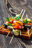 Fresh summer vegetable kebabs with  eggplant and cherry tomatoe Royalty Free Stock Photos