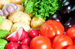 Fresh summer vegetables. Closeup of fresh summer vegetables - background Royalty Free Stock Photos