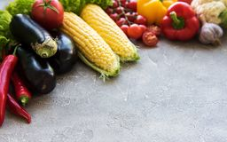 Fresh summer vegetables. On a concrete background stock images