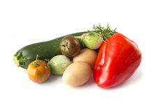 Fresh summer vegetables and eggs Royalty Free Stock Images