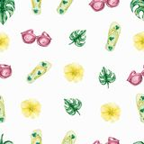 Fresh summer watercolor beach and  pattern.Beach elements illustration. Summer background with monstera leaf,yellow tropic flowers stock illustration