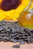 Fresh sunflower seeds oil Stock Images