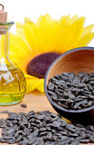 Fresh sunflower seeds oil Royalty Free Stock Images