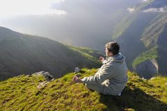 Fresh sunrise at mountain Stock Photography