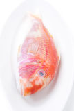 Fresh surmullet on a plate isolated on white, selective focus Stock Photography