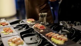 Fresh Sushi on Black Table stock footage
