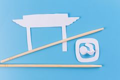 Fresh Sushi on blue background. Made of paper stock images