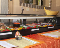 Fresh Sushi Counter. American sushi counter and table Stock Photos