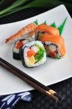 Fresh sushi on dish Stock Images