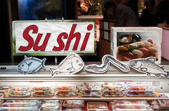 Fresh Sushi On Sale At Kuromon Ichiba Market In Osaka, Japan Royalty Free Stock Images
