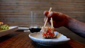 Fresh sushi in restaurant. stock video footage