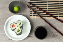 Fresh sushi roll with wasabi and soya sauce Royalty Free Stock Photos