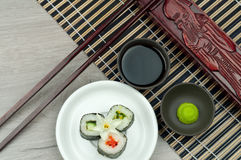 Fresh sushi roll with wasabi and soya sauce Stock Images