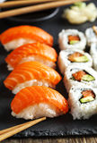 Fresh sushi and rolls Stock Photos