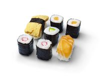 Fresh sushi rolls isolated on a white background.  Royalty Free Stock Photos