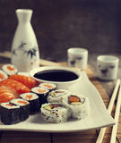 Fresh sushi and rolls on the plate Royalty Free Stock Photography