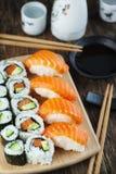 Fresh sushi and rolls Royalty Free Stock Image