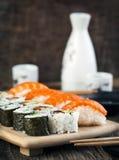Fresh sushi and rolls Stock Photo