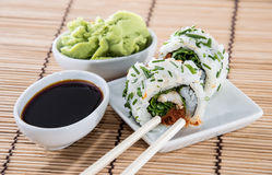 Fresh Sushi Rolls on a small plate Royalty Free Stock Image