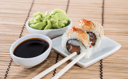 Fresh Sushi Rolls on a small plate Royalty Free Stock Photography