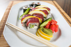 Fresh Sushi rolls. On a white plate Stock Image