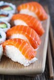 Fresh sushi and rolls Royalty Free Stock Image