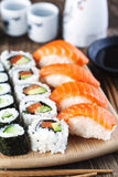 Fresh sushi and rolls Royalty Free Stock Images