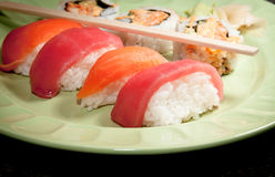 Fresh Sushi and Sashimi Royalty Free Stock Photography
