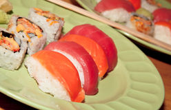 Fresh Sushi and Sashimi Dinner Stock Photography