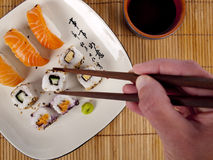 Fresh sushi and sashimi on a plate Royalty Free Stock Photography