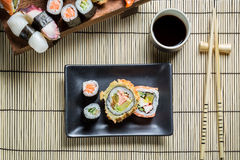 Fresh sushi served with soy sauce Royalty Free Stock Images