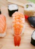 Fresh sushi. Some fresh sushi with prawns Royalty Free Stock Photo
