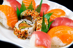 Fresh sushi traditional japanese food. Some fresh sushi traditional japanese food Royalty Free Stock Photos