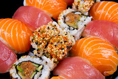 Fresh sushi traditional japanese food. Some fresh sushi traditional japanese food Royalty Free Stock Photography