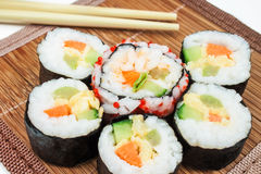 Fresh sushi. With vegetables and eggs Royalty Free Stock Photos