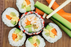Fresh sushi. With vegetables and eggs Royalty Free Stock Photography