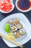 Fresh sushi. On the white plate Stock Images