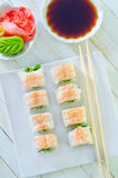 Fresh sushi. On the white plate Royalty Free Stock Images