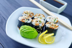 Fresh sushi. On the white plate Stock Image
