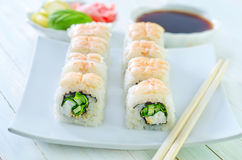 Fresh sushi. On the white plate Royalty Free Stock Photos