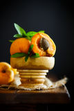 Fresh sweet apricots. On a wooden table Stock Image