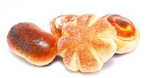 Fresh sweet buns and rolls with poppy and cream isolated Royalty Free Stock Photography