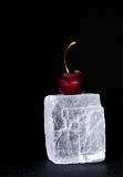 Fresh sweet cherry on black Royalty Free Stock Image