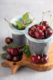 Fresh sweet cherry in a cup Royalty Free Stock Photo