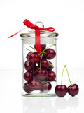 Fresh Sweet cherry in glass jar Stock Image